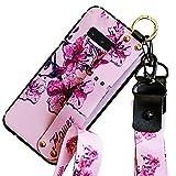 Hpory - Carcasa de silicona para Samsung Galaxy S10 Plus, diseño de purpurina, Flor rosa.