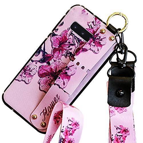 Hpory Kompatibel mit Galaxy S10 Plus Hülle, Handyhülle Samsung Galaxy S10 Plus Glitzer Strass Muster TPU Silikon Schwarz Case Cover Tasche Etui Schutzhülle mit Fingerhalter Schlüsselband - Blume Rosa