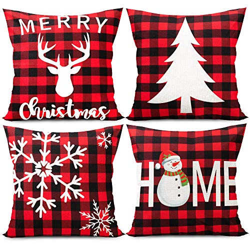 Funnlot Christmas Cushion Covers Red Christmas Pillow...