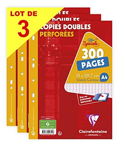 Clairefontaine 447111AMZC Lot de 3 Étuis de Copies Doubles Perforées - A4 21x29,7 cm - 300 Pages Grands Carreaux - Papier Blanc 90 g - Étui Réutilisable