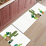 Alfombra con estampado de tema de cactus Alfombra de entrada para puerta de entrada Alfombra de baño Cocina Alfombra de sala de estar Alfombrillas antideslizantes para plantas A10 50x80cm + 50x160cm