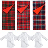 3 Pieces Christmas Sleeping Bags Accessory Elf Doll Sleeping Bag and 3 Pieces White Bathrobes for Elf Doll Red Green Plaid Sleeping Bag for Elf Doll Decorations, 3 Styles (Doll is not Included)