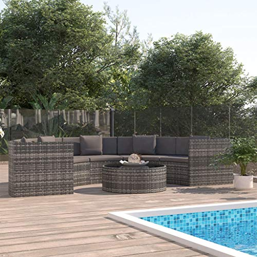 Festnight 6 Piece Garden Lounge Set with Cushions, Outdoor Sofa Set Patio Furniture Set Poly Rattan Grey (UK/IE/FI/NO Only)