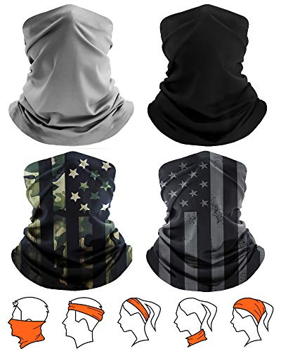 [4 Pack] Unisex Sun UV Protection Cooling Face Scarf Cover Mask Neck Gaiter, Headband...