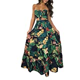 Cluster 2Pcs Women Suits Wrapped Crop Top + Skirt Set Party Club Maxi Dress, Green, Small