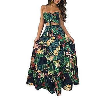 Cluster 2Pcs Women Suits Wrapped Crop Top + Skirt Set Party Club Maxi Dress Green Medium