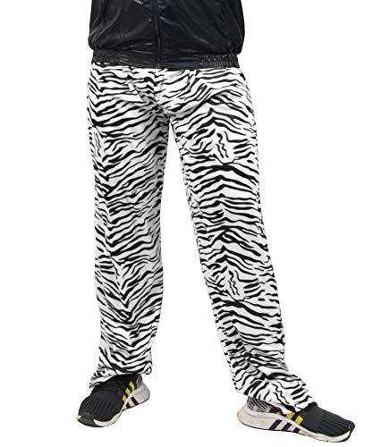 Foxxeo Jogginghose 80er Jahre Kostüm Trainingsanzug Assianzug Retro schwarz weiß S - XXXL, Größe:M