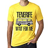 One in the City Hombre Camiseta Vintage T-Shirt Gráfico Tenerife Wait For Me Amarillo