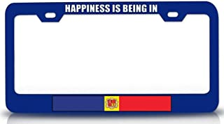 Custom Brother - Happiness is Being in Andorra Country Flag Steel Metal License Plate Frame Bu