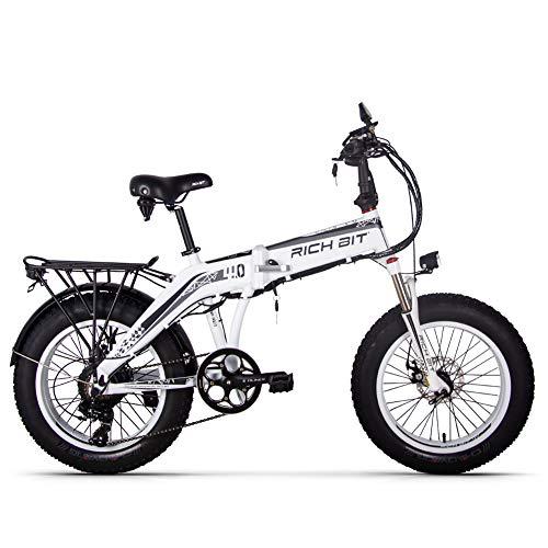 GUOWEI Rich Bit RT-016 48v 500w 9.6Ah 20 Pollici Pieghevole Grasso Pneumatico Bici elettrica E Bicicletta ebike Neve Grasso Bici con Schermo LCD Intelligente (White)