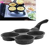 Sartén Antiadherente, 4 Orificios Sartén Antiadherente para panqueques Olla para Huevos fritos Sartén para Huevos, Aluminio para panqueques de Huevos fritos