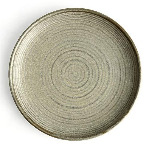 YLMF Plato Grande Espesado Retro de 10 Pulgadas, Plato Plano de cerámica para el hogar, Duradero, Resistente a los arañazos, fácil de Limpiar y almacenar, Resistente a Altas temperaturas, lavavajill