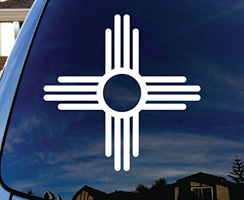"CMI273 New Mexico Symbol Car Window White Vinyl Decal Sticker 4"" Wide"