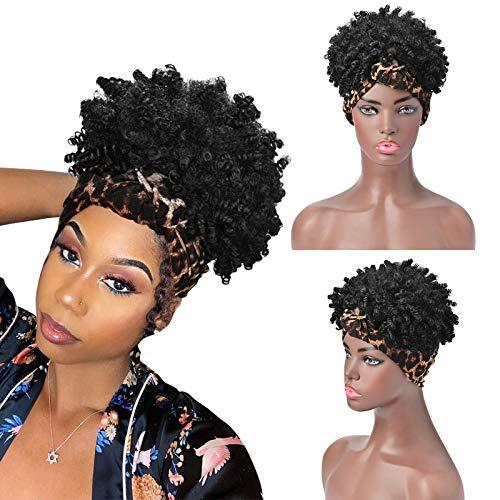 YMHPRIDE Curly Headband Wig Afro Kinky Short Turban Wigs for Black Women...