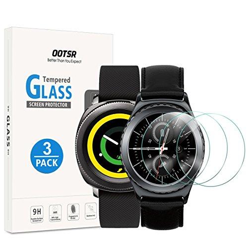 (3 Stück) OOTSR Bildschirmschutzfolie für Samsung Gear Sport/Gear S2, Panzerglas Schutzfolie für Samsung Gear S2 / Sport [Kratzfest] [Transparent] [Blasenfrei]