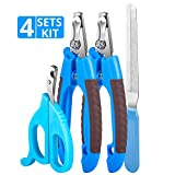 TRIPLE TREE Dog Nail Clippers and Trimmer Set with Safety Guard to Avoid Over-Cutting Nails & Free Nail File - Razor Sharp Blades - 3pcs Clippers with 1 Trimmer,Professional Grooming Tool at Home