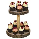 Hearthford Rustic Cupcake Stand Wood - Cake Stand, Wooden Cupcake Tower & Cheese Serving Board   Two Tiered Tray Decor for Parties, Weddings   Detachable Wood Slices, Wood Board or Wood Plates