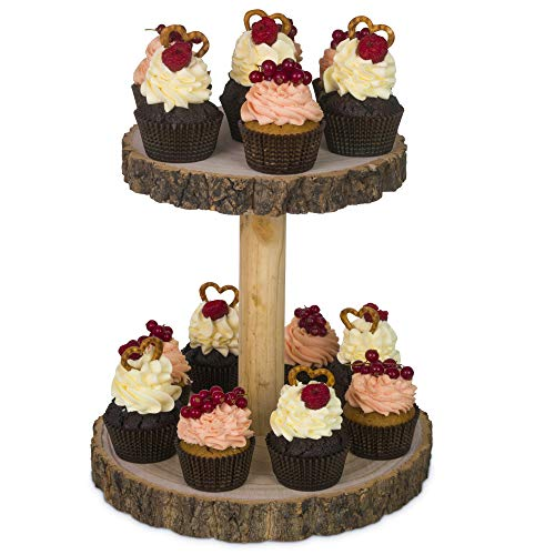 Hearthford Rustic Cupcake Stand Wood - Cake stand Wooden cupcake Tower Cheese Serving board  Two Tiered Tray decor for Parties Weddings  Detachable Wood Slices wood board or wood plates