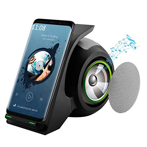 Fast Wireless Charger with Bluetooth Speaker Wireless Charging Stand Compatible for iPhone12.Plus.Mini,iphone11.Plus,11Pro,11Pro Max, Xs,XS Max,XR, X,8,8Plus,Samsung