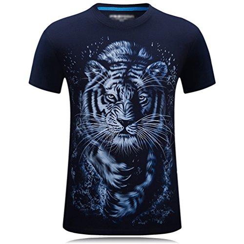 Cayuan Hombre Manga Corta Tops Verano O Cuello Camisetas 3D Tigre Animal Impresora Adolescente Divertida T-Shirts Azul