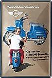 Simson Schwalbe, Roller, hochwertig geprägtes Retro Werbeschild, Blechschild, Türschild, Wandschild, 30 x 20 cm