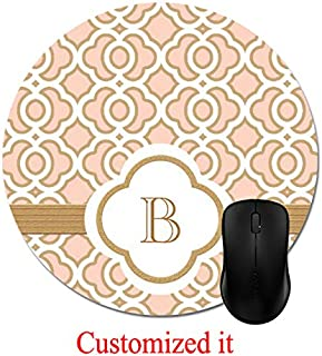 Blush Pink and Gold Moroccan Monogrammed Mouse Pad Stylish Office Computer Accessory 8in