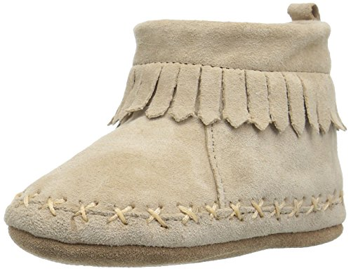 Robeez Boys' Cozy Ankle Moccasin Crib Shoe, Fringe Taupe, 18-24 Months M US Infant