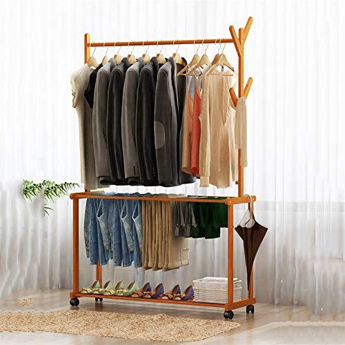 ZMXZMQ Rollen-Kleiderständer Aus Bambus, Mit 4 Baumständer Kleiderhaken Kleiderbügel, 1 Hängeruten Und 2-Stufige Hosen Schuhregale,60 * 37 * 175cm