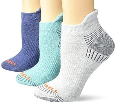 Merrell Women's Repreve Cushioned Low Cut Tab Socks 3 Pair, Ceramic Marl, Grey Heather, Blue Marl, S/M