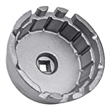 Heavy Duty Steel Oil Filter Wrench For Toyota, Lexus, Scion 1.8 Liter Engines - Durable Cup Style Oil Filter Removal Socket Tool Fits Prius, Prius V, Corolla, Matrix, CT200h, iM, iQ, xD(Silver)