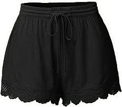 JOFOW Shorts for Women Solid Ruffle Hem Drawstring Pajamas Mini Pants