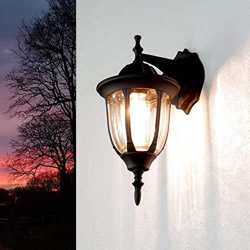 *Schwarze Gartenlampe für Wand Glas E27 H:37cm MILANO rustikal Außenleuchte Haus Wand Balkon Terrasse*
