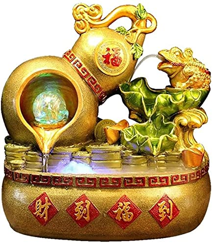 A-Generic Desktop Water Feature Creative Gourd Fountain Indoor Tabletop Water Fountain Resin Waterfall Fountain - Golden Toad Decorations for Living Room and Office Relaxation Waterfall Fountain