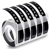 Fimax Konmpatible Prägegerät 9mm Schwarz als Ersatz für Dymo Omega Band Etikettiergerät S0717910 / S0717940 / S0717930, Vinyl-Prägeetiketten