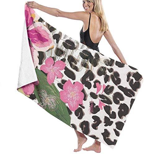 Toallas de Playa de Flores Rosas de Leopardo Toallas de Ducha de baño Ligeras de Microfibra para Acampar en la Piscina para niños Adultos