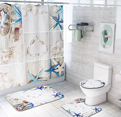 JZZCIDGa Seesternschale Badematte Set 4-Teilige Badematte U-Förmige Konturmatte Duschvorhang Toilettensitzbezug Badematte Anti Slip