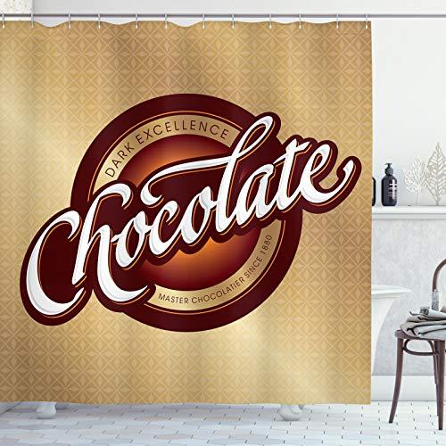 ABAKUHAUS Schokolade Duschvorhang, Maître Chocolatier Zeichen, aus Stoff inkl.12 Haken Digitaldruck Farbfest Langhaltig Bakterie Resistent, 175x240 cm, Brown Sand Braun