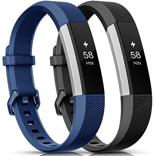 Onedream Compatibile per Fitbit Alta HR Cinturini/Alta Cinturino/Ace Bracciale Braccialetto Sport Nero Blu (nessun Tracker),L