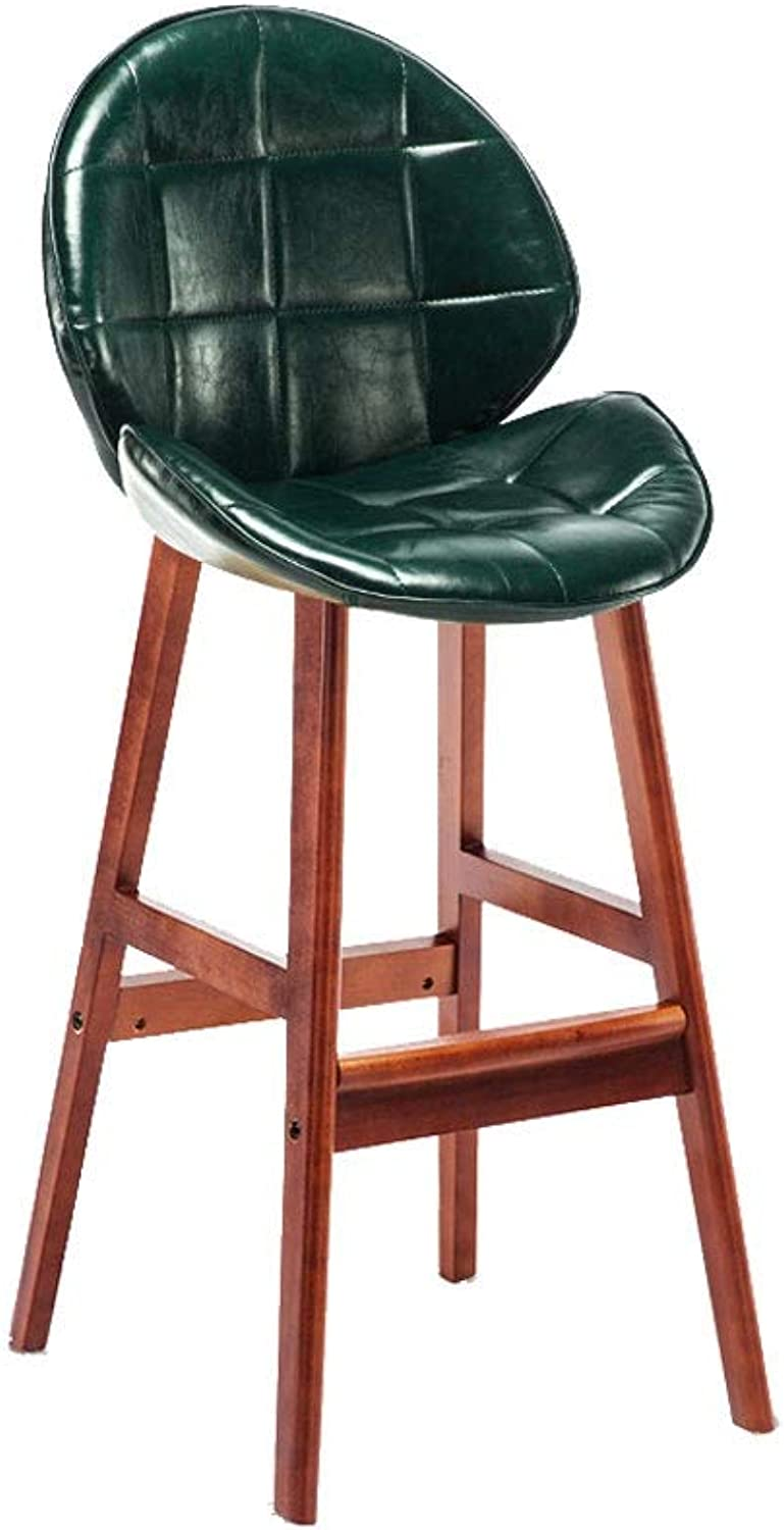A+ Solid Wood Backrest Bar Stool Retro Home High Chair High Elastic Sponge Filled Computer Chair PU Leather Velvet Seat 9 colors 39cm47cm72cm (color   Dark Green)