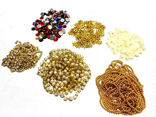 Am Jewellery Making & Decorating 6 Items Combo Set Includes Chains(3 Types), Pearls, & Colourful Kundans, Daisy Star Chakri 100 Pcs