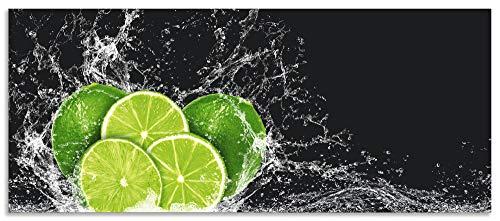 Artland Spritzschutz Küche aus Alu für Herd Spüle 120x50 cm Küchenrückwand mit Motiv Essen Obst Früchte Limette Eiswasser Modern Dunkel H9KL