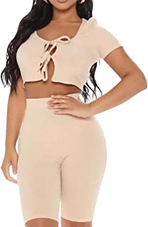 Women Casual 2 Piece Outfit Jumpsuit Crop Tops Bodycon Shorts Sets