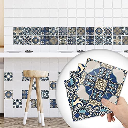 10 pegatinas estilo mosaico marroquí victoriano, 3D Peel and Stick Backsplash, impermeables, a prueba de aceite, a prueba de salpicaduras, autoadhesivas, para baño, cocina (20 x 20 cm)