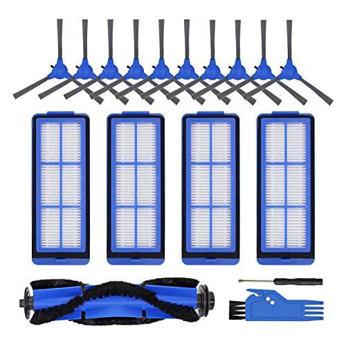 SODIAL Kit pour Robot Aspirateur RoboVac 11S Max RoboVac 15C Max 30C Max, 10 Brosses LatéRales, 4 Filtres, 1 Brosse à Rouleau