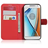 Tasche für Lenovo Moto G4 Play (5.0 zoll) Hülle, Ycloud PU Ledertasche Flip Cover Wallet Hülle Handyhülle mit Stand Function Credit Card Slots Bookstyle Purse Design rote