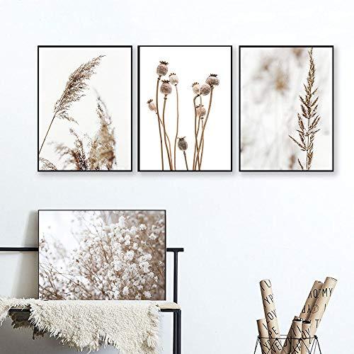 Rijst paardenbloem herfst planten muurkunst canvas schilderij landschap Nordic poster en afdrukken wandafbeeldingen voor woonkamer decoratie 40x60cmx4 niet ingelijst