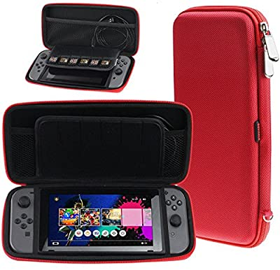 Navitech Crimson Red Premium Travel Hard Carry Case Cover Sleeve Compatible With The Nintendo Switch