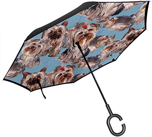 Doppelschicht-Umkehrschirm, Yorkies On Blue Skinny Windproof Taschenschirm Self Stand Upside-Down Regenschutz Car Reverse Umbrellas