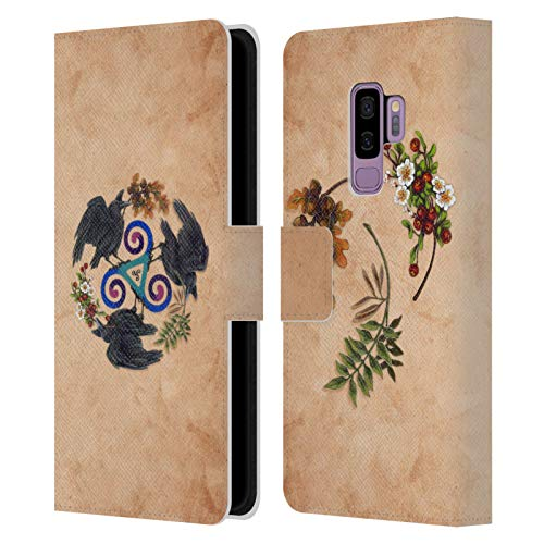 Head Case Designs Officially Licensed Brigid Ashwood Raven Fey Celtic Wisdom Leather Book Wallet Case Cover Compatible with Samsung Galaxy S9+ / S9 Plus
