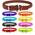 """WAUDOG Rolled Leather Dog Collars for Large Dogs - Extra Large Dog Collar - Dog Collars for Large Dogs Heavy Duty - Dog Collar for Large Dogs Plus (20 4/5"""" - 24"""" Neck 1/2"""" Wide, Brown)"""
